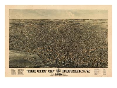 Buffalo 1880 Bird's Eye View, New York, United States--Giclee Print