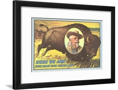 Buffalo Bill Picture Imposed on Bison--Framed Art Print