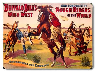 Buffalo Bill's Amusements Des Cowboys--Wood Sign