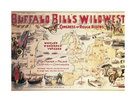 Buffalo Bill's Wild West and Congress of Rough Riders, Poster, 1892--Giclee Print