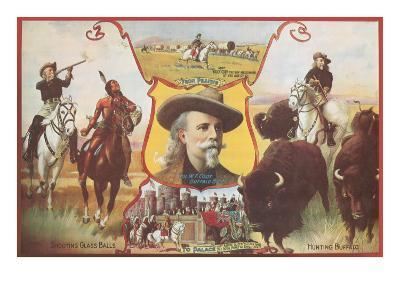 Buffalo Bill with Indians and Bison--Art Print