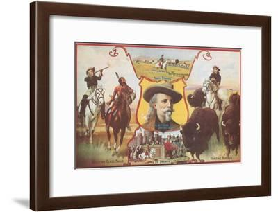 Buffalo Bill with Indians and Bison--Framed Art Print