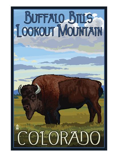 Buffalo Bills Lookout Mountain, Colorado - Bison Scene-Lantern Press-Art Print