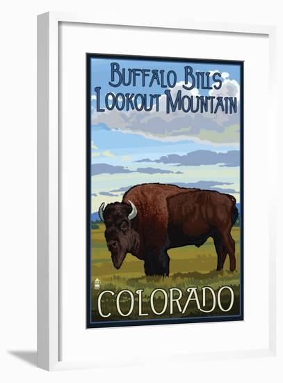 Buffalo Bills Lookout Mountain, Colorado - Bison Scene-Lantern Press-Framed Art Print