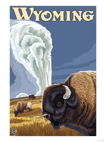 Buffalo by Old Faithful, Yellowstone Park, Wyoming-Lantern Press-Art Print