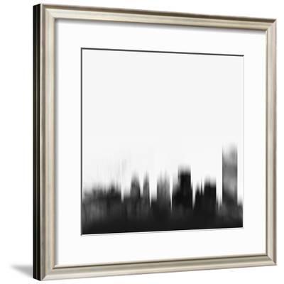 Buffalo City Skyline - Black-NaxArt-Framed Art Print