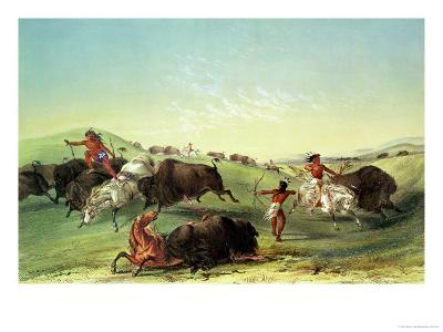 Buffalo Hunt, Plate 7 from Catlin's North American Collection, Engraved by Mcgahey-George Catlin-Giclee Print
