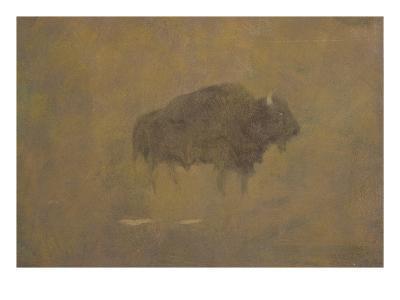 Buffalo in a Sandstorm (Oil on Paper Mounted on Board)-Albert Bierstadt-Giclee Print