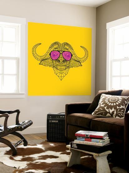 Buffalo in Pink Glasses-Lisa Kroll-Wall Mural