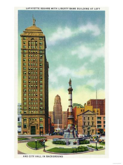 Buffalo, New York - Lafayette Square View of Liberty Bank Bldg, City Hall-Lantern Press-Art Print