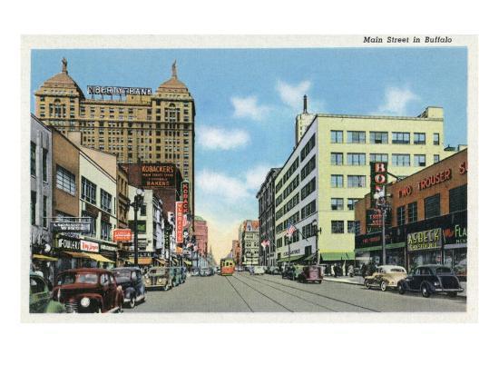 Buffalo, New York, View Down Main Street-Lantern Press-Art Print