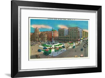 Buffalo, New York - View of Lafayette Square and Main Street-Lantern Press-Framed Art Print
