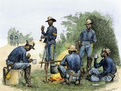 Buffalo Soldiers around a Campfire, 1880s