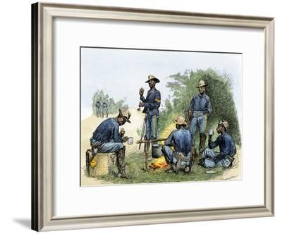 Buffalo Soldiers around a Campfire, 1880s--Framed Giclee Print
