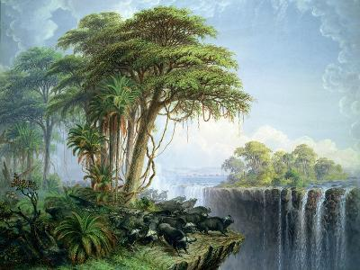 Buffalos Driven to the Edge of the Chasm Opposite Garden Island, Victoria Falls-Thomas Baines-Giclee Print