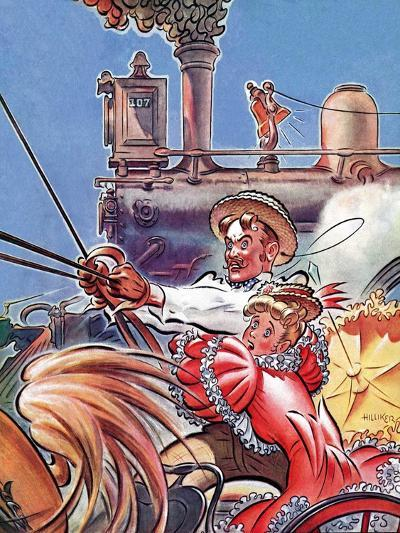"""Buggy Races Train,""May 13, 1939-Douglas H. Hilliker-Giclee Print"