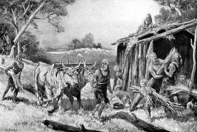 Building a Tribal Homestead-A Holloway-Giclee Print