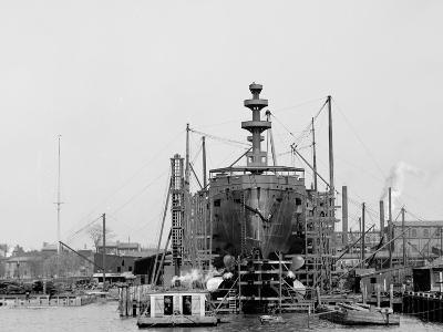 Building a Warship, Cramps I.E. William Cramp Sons Ship and Engine Building Company Shipyard--Photo