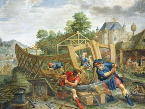 Building Ark, Flemish Painting, Painting on Copper--Giclee Print