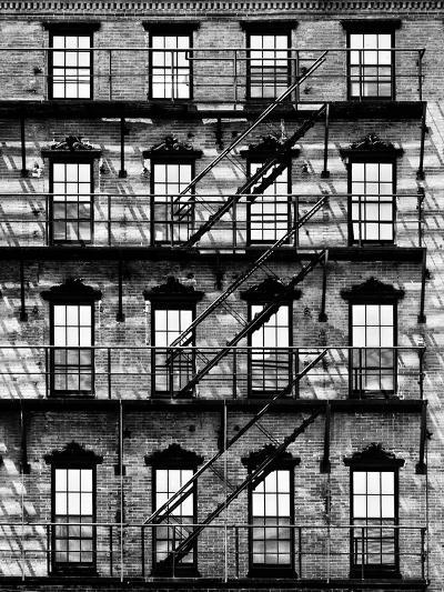 Building Facade in Red Brick, Stairway on Philadelphia Building, Pennsylvania, US-Philippe Hugonnard-Photographic Print