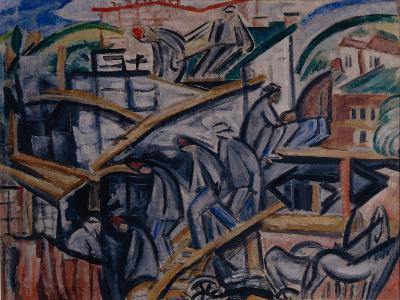 Building New House, 1913-Olga Vladimirovna Rozanova-Giclee Print