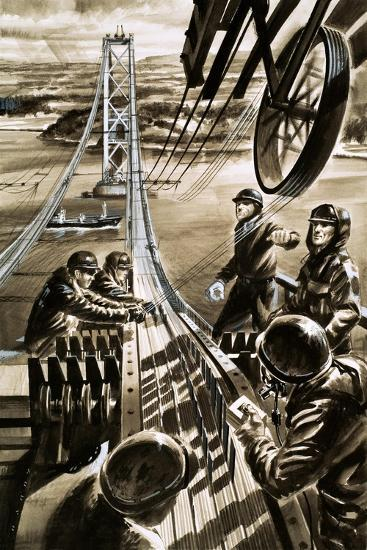Building the Bridge across the Firth of Forth-Wilf Hardy-Giclee Print