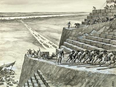 Building the Great Pyramid at Giza-Peter Jackson-Giclee Print