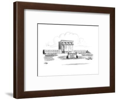 """Building which looks like a giant version of a grocery store has the sign,?"""" - New Yorker Cartoon-Warren Miller-Framed Premium Giclee Print"""