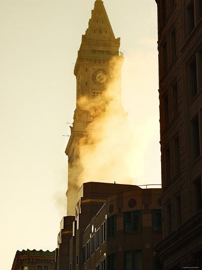 Building with Clock Tower on Top and Smoke in Front of it in Boston, Massachusetts--Photographic Print