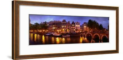 Buildings Along a Canal at Dusk, Amsterdam, Netherlands