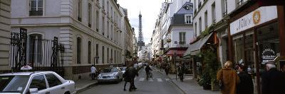 Buildings Along a Street with a Tower in the Background, Rue Saint Dominique, Eiffel Tower--Photographic Print