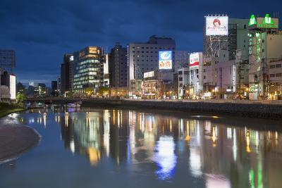 Buildings Along Hakata River at Dusk, Fukuoka, Kyushu, Japan-Ian Trower-Photographic Print