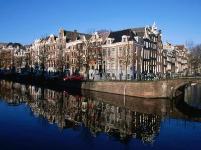Buildings along Keizersgracht Reflected in Canal, Southern Canal Belt, Amsterdam, Netherlands-Martin Moos-Photographic Print