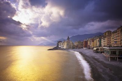 Buildings Along the Coast at Sunset; Camogli Liguria Italy-Design Pics Inc-Photographic Print