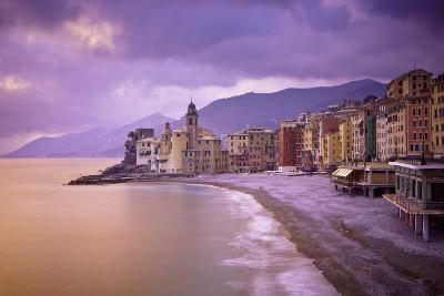 Buildings Along the Coast at Sunset; Camogli Liguria Italy-Design Pics Inc-Photographic Print
