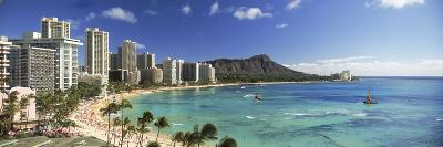 Buildings Along the Coastline, Diamond Head, Waikiki Beach, Oahu, Honolulu, Hawaii, USA--Photographic Print