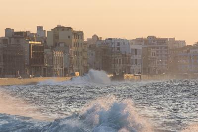 Buildings Along the Malecon in Soft Evening Sunlight with Large Waves Crashing Against the Sea Wall-Lee Frost-Photographic Print