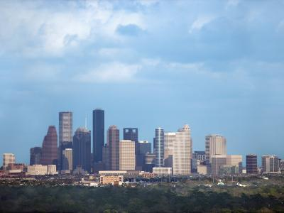 Buildings and High Rises in Skyline of Houston, Texas at Night--Photographic Print