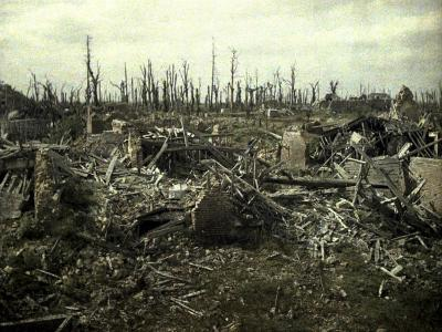 Buildings and Trees Destroyed by Artillery Fire, Chaulnes, Somme, France, 1917-Fernand Cuville-Giclee Print