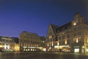 Buildings at a Town Square Lit Up at Night, Raekoja Plats, Tallinn, Estonia