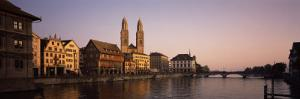 Buildings at the Waterfront, Grossmunster Cathedral, Limmat River, Zurich, Switzerland