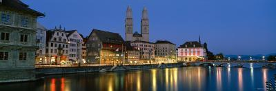 Buildings at the Waterfront, Grossmunster Cathedral, Zurich, Switzerland--Photographic Print
