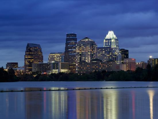 Buildings at the Waterfront Lit Up at Dusk, Town Lake, Austin, Texas, USA--Photographic Print