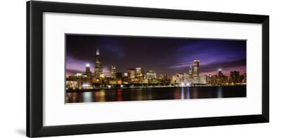 Buildings at the Waterfront Lit Up at Night, Sears Tower, Lake Michigan, Chicago, Illinois, USA--Framed Photographic Print