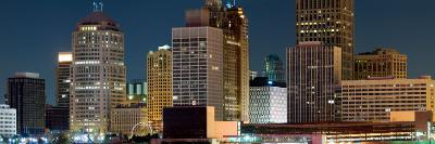 Buildings in a City Lit Up at Night, Detroit River, Detroit, Michigan, USA--Photographic Print