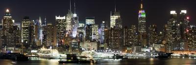 Buildings in City Lit Up at Night, Hudson River, Midtown Manhattan, Manhattan, New York City--Photographic Print