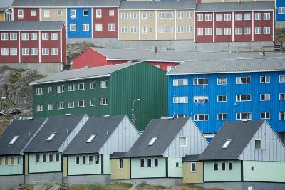 Buildings in Sisimiut Looking Like Stacked Up Toys-Michael Melford-Photographic Print