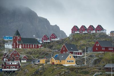 Buildings in Sisimiut Perched on a Barren Greenland Hill-Michael Melford-Photographic Print