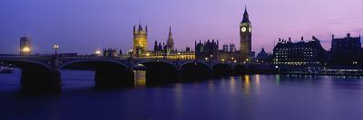 Buildings Lit Up at Dusk, Big Ben, Houses of Parliament, London, England--Photographic Print