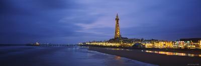 Buildings Lit Up at Dusk, Blackpool Tower, Blackpool, Lancashire, England--Photographic Print